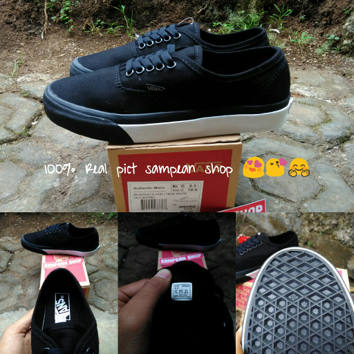 25fca69818 ... harga Sepatu vans authentic mono bumper black true white original  premium Tokopedia.com