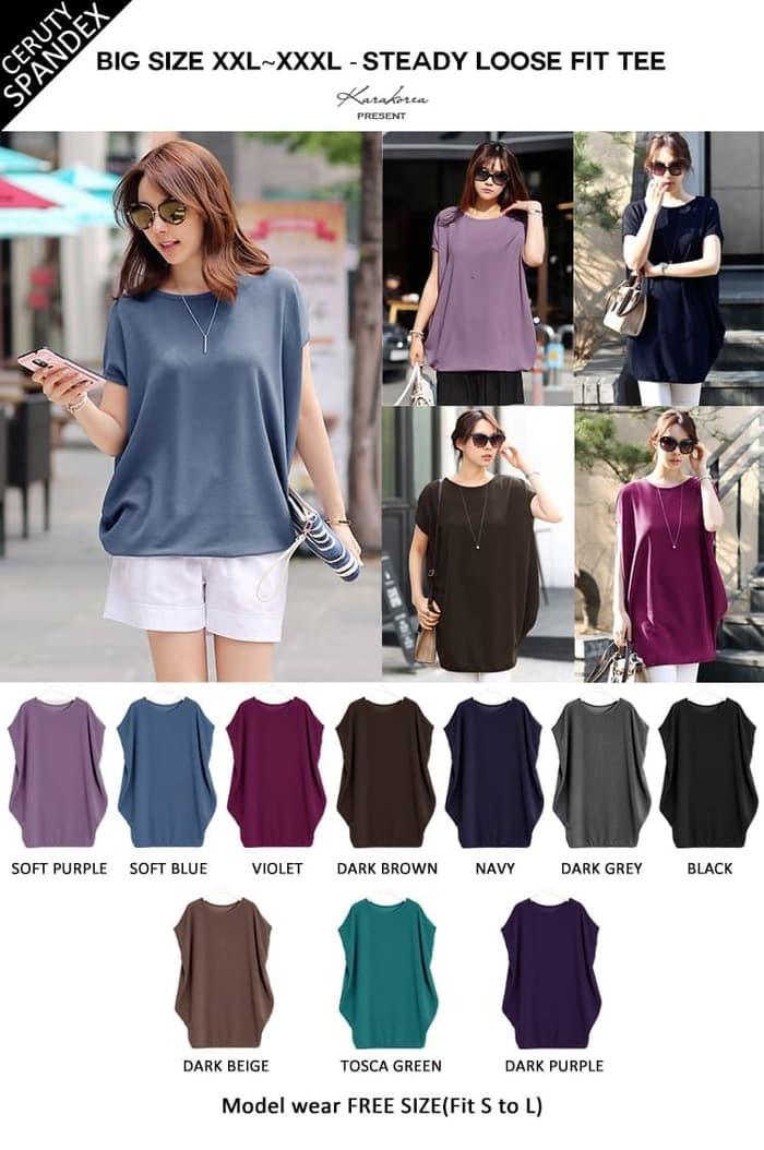 ... harga Blouse korea ld168cm spandek big size jumbo xl polos atasan wanita  top Tokopedia.com 248d357963