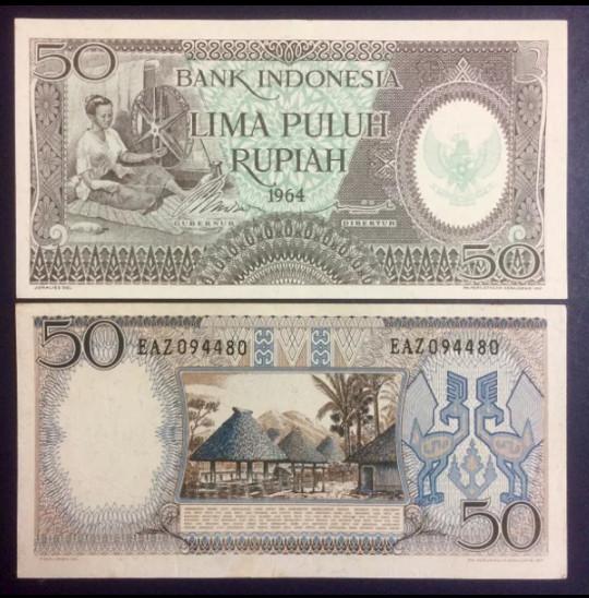 harga 1 Lembar 50 Rupiah Seri Pekerja Tahun 1964 / Uang Kuno Indonesia / Hob Tokopedia.com