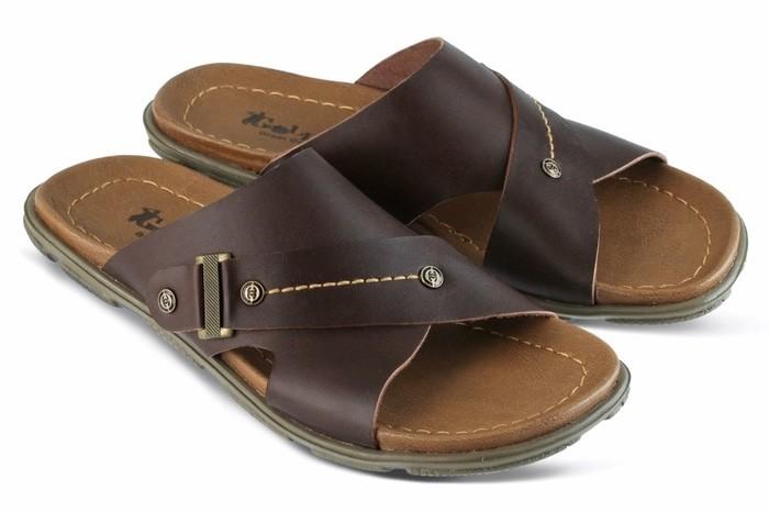 Sandal Kasual Pria kulit coklat Golfer GF.7805 murah asli ori original