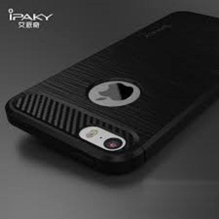 Case Ipaky Carbon Fiber Iphone 7 Plus Softcase Shockproof TPU Backcase - Hitam