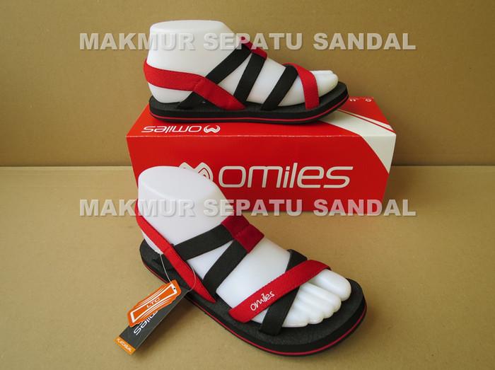 Sandal gunung wanita - sendal omiles - ivanka - hitam merah