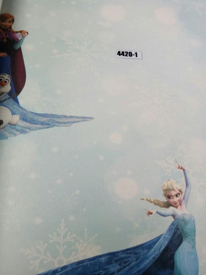 jual wallpaper frozen biru putih 10mx53cm, bukan wallsticker - siro