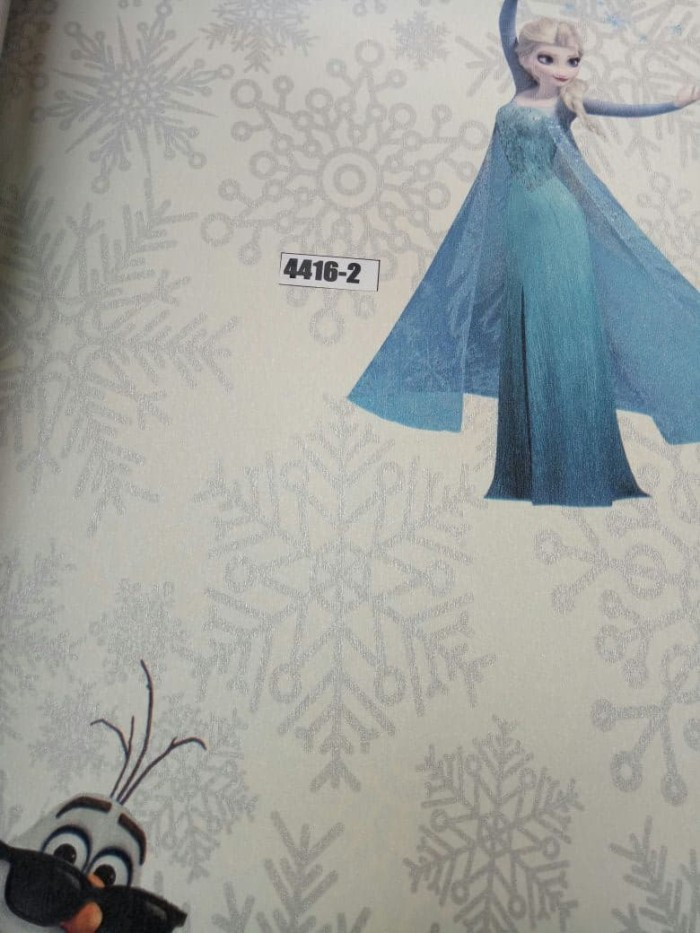 jual wallpaper frozen putih abu 10mx53cm, bukan wallsticker - siro