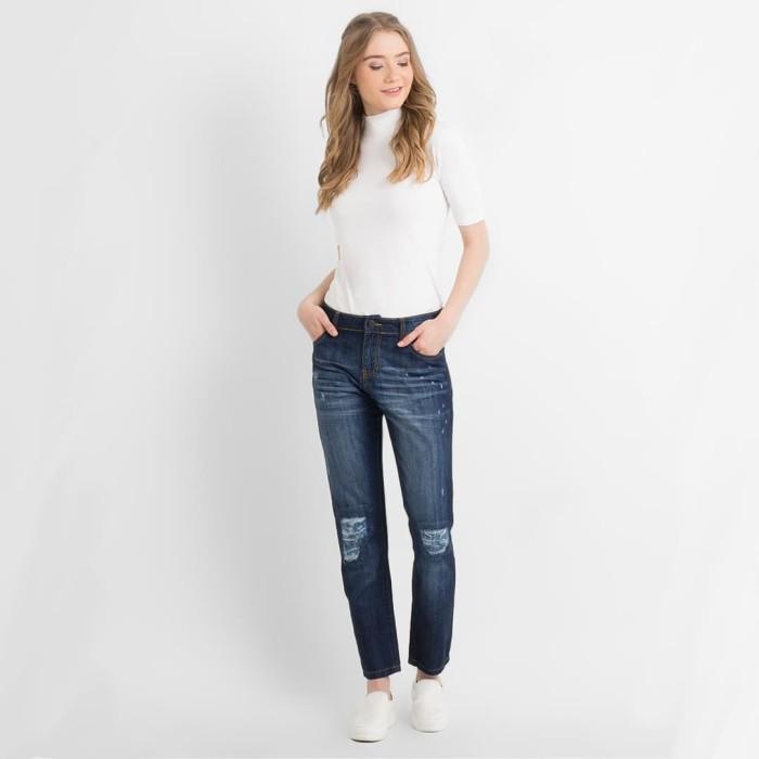 harga Dust - 3206 ripped girlfriend jeans - navy m Tokopedia.com