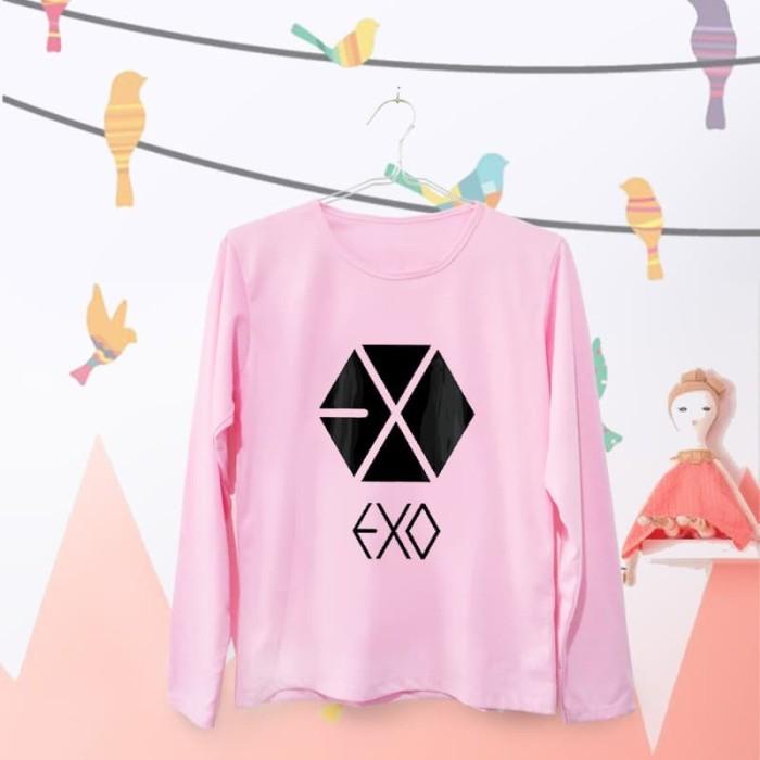 harga Baju kaos atasan wanita cewek exo lengan panjang warna pink ukuran l Tokopedia.com