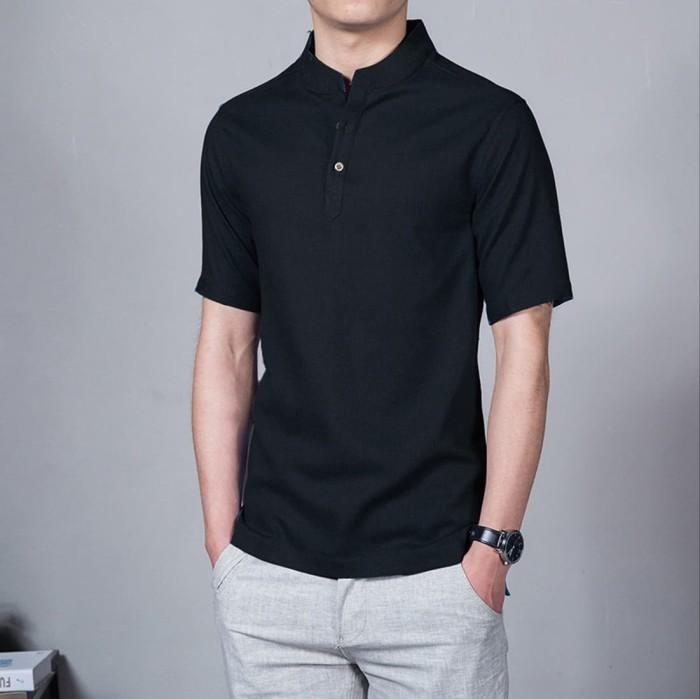 Baju Koko Hitam Lengan Pendek Polos Simple Bahan Cotton Adem Promo - Hitam, XL