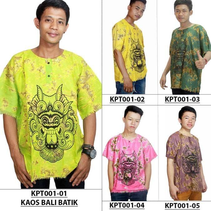 Kaos Bali Batik, Kaos Santai, Baju Tidur, Atasan Pria (Kpt001-Pria