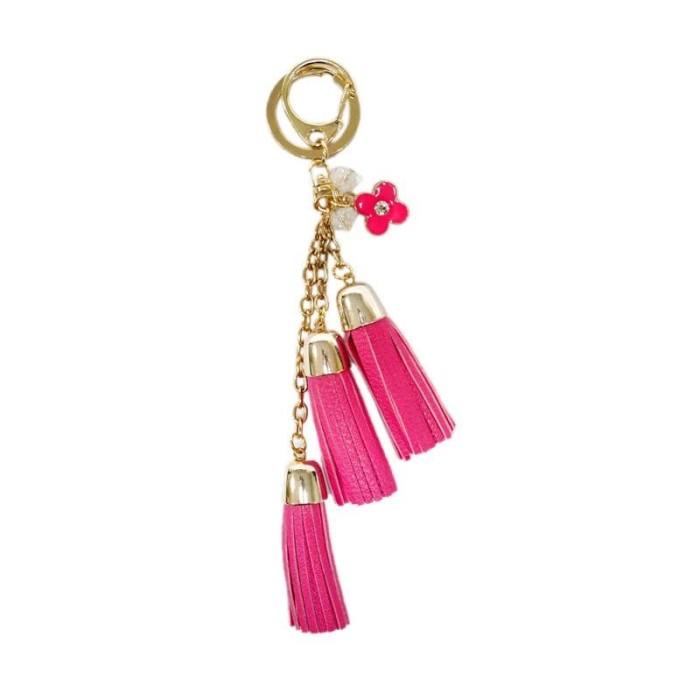 Foto Produk KM06 Rumbai 3 Tingkat dan Bunga Gantungan Kunci - Pink dari Toraja City Shopping