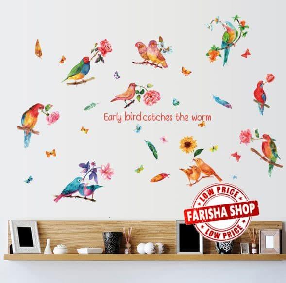 jual bird & worm sk9203 - stiker dinding / wall sticker - kota bogor