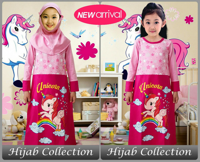 harga Grosir gamis /hijab anak karakter motif pony pink pelangi 2-12 Tokopedia.com