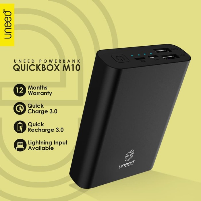 uneed quickbox m10 powerbank 10.000mah quick charge 3.0  real capacity - hitam