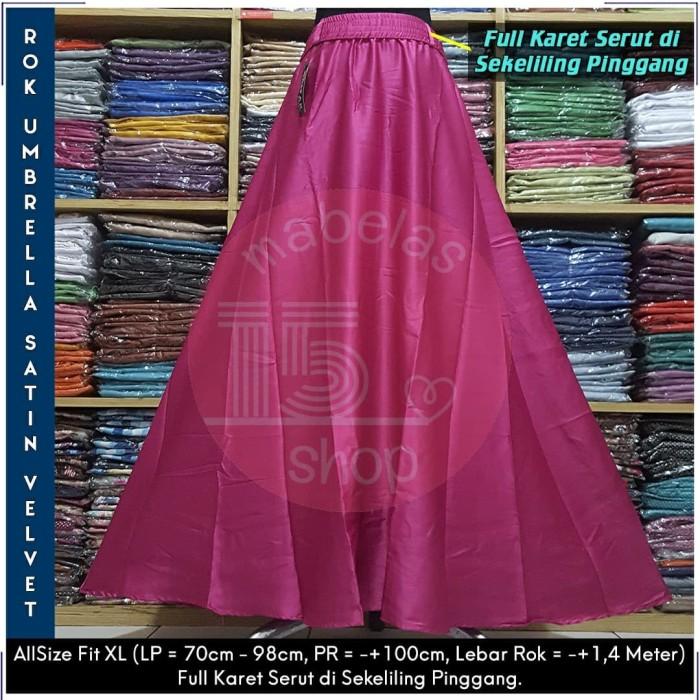 harga Rok payung satin velvet karet lebar polos panjang maxi skirt pink tua Tokopedia.com
