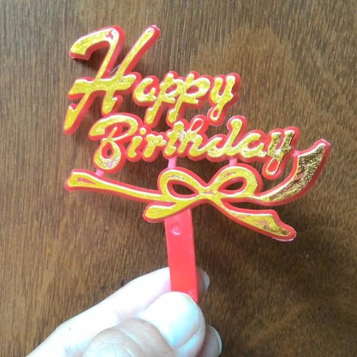 PROMO Cake topper happy birthday merah gold IOS