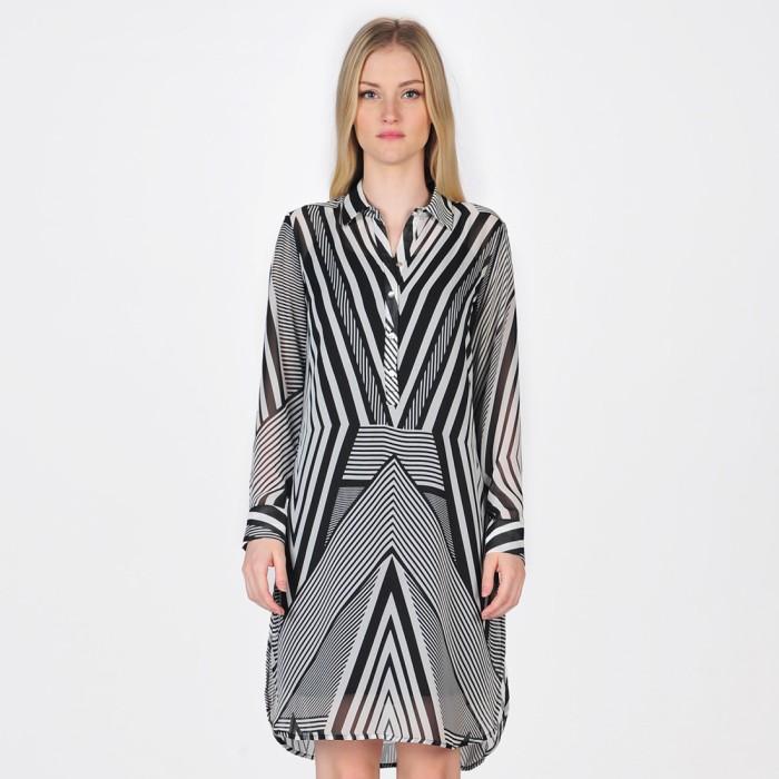 Midi dress wanita catania bergaris - hitam - hitam xs