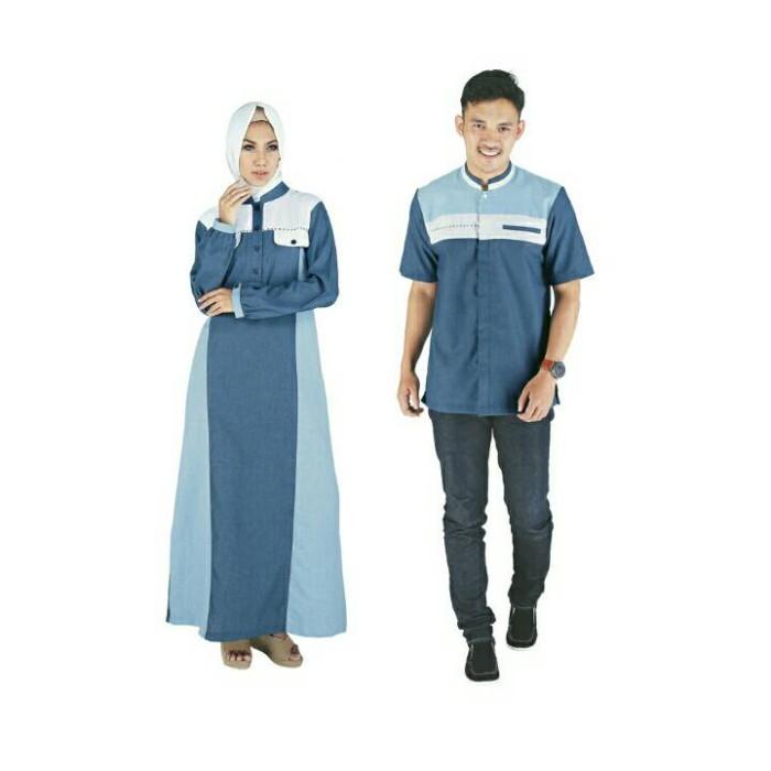 Busana muslim couple raindoz rgs 046/baju koko dan baju gamis satu set