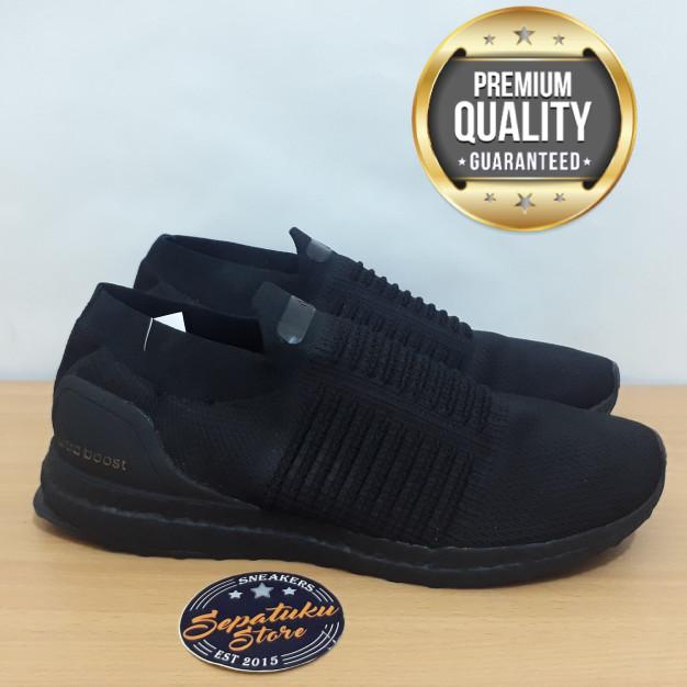 76e1598dd421f Jual Sepatu Adidas Ultraboost Uncaged Laceless Triple Black Full ...