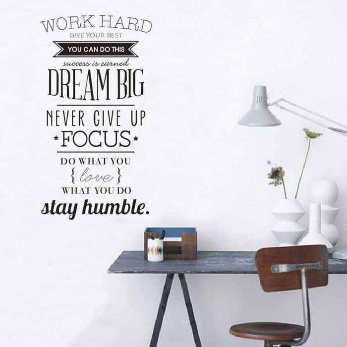 jual wall sticker dinding / kaca motivasi kata bijak work hard murah