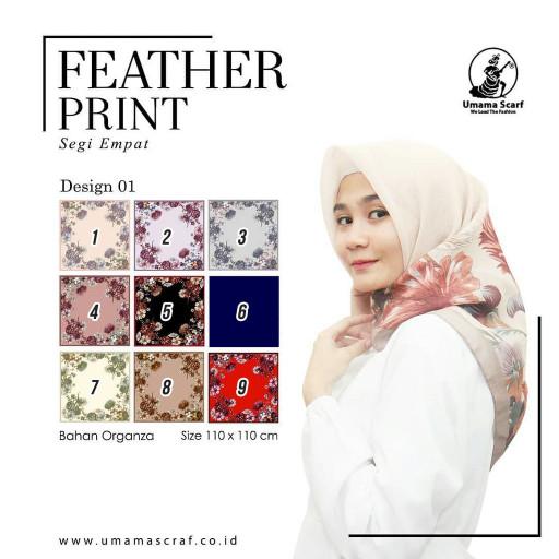 Jilbab segiempat organza motif feather print umama scarf (des 1)