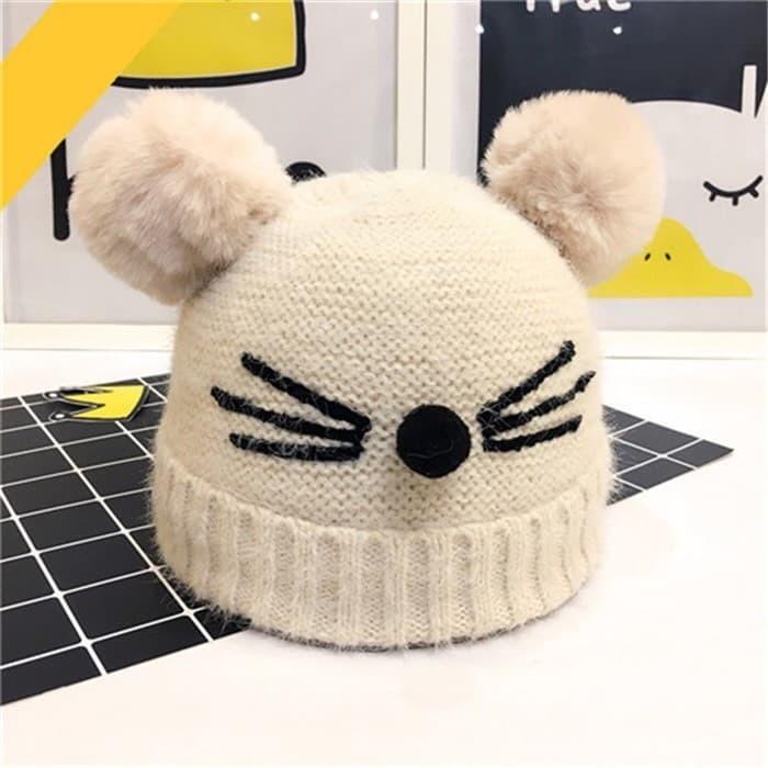 harga Kupluk anak bayi / topi mouse pompom - beige Tokopedia.com