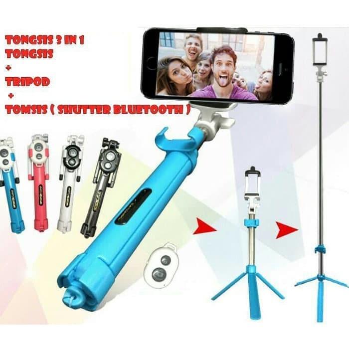 harga Tripod tomsis bluetooh - selfie stick-tongsis 3 in 1 - Tokopedia.com