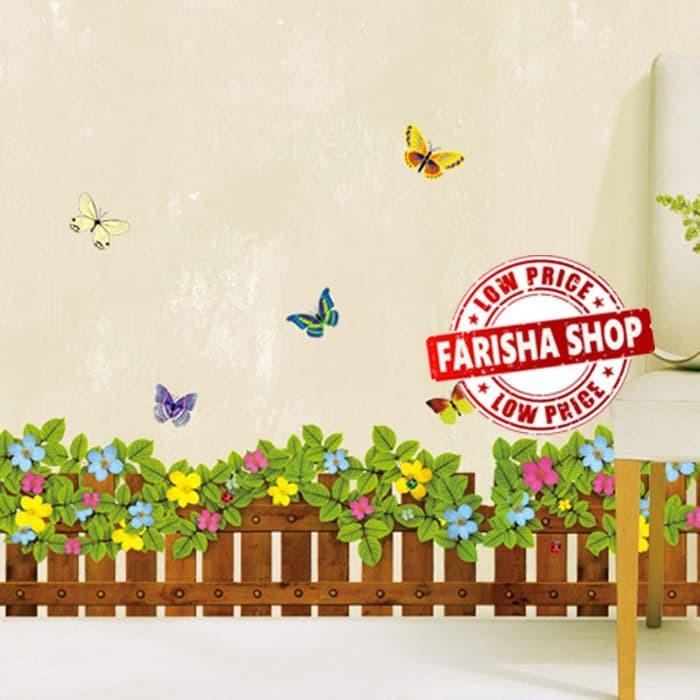 jual pagar bunga warna-warni jm8262 - stiker dinding / wall sticker