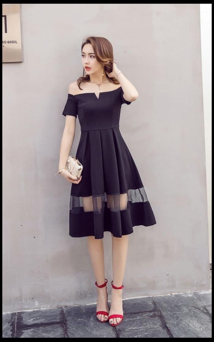Jual Dsjt218051908932 Midi Dress Korea Dress Off Shoulder Elegan