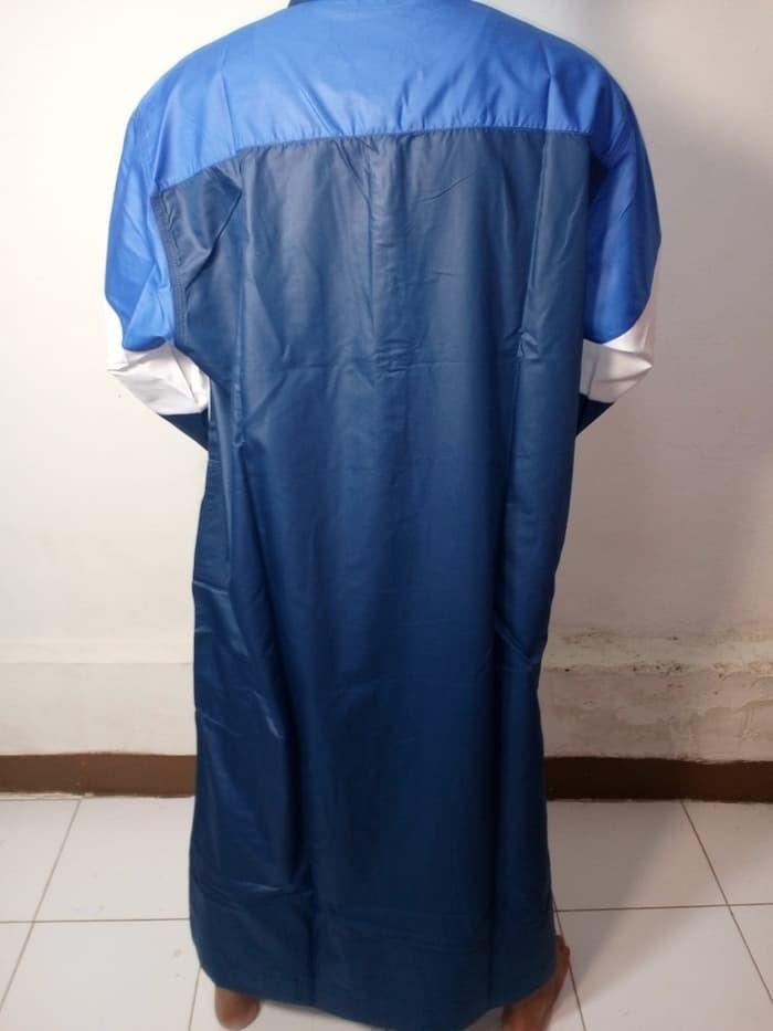 Jual Baju Gamis Pria Baju Jubah Pria Navy Kombinasi Putih Biru Muda