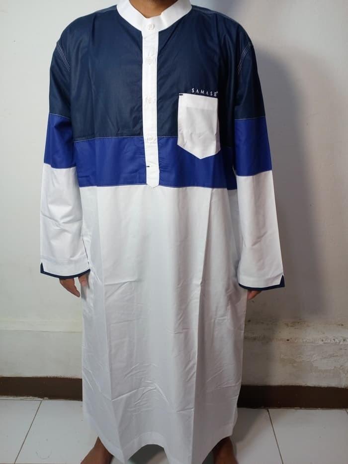 Jual Baju Gamis Pria Baju Jubah Pria Putih Kombinasi Biru Biru