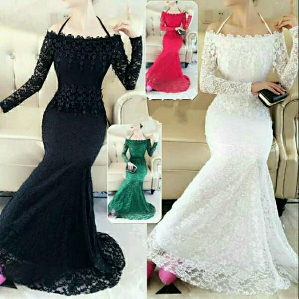 Jual Emerald Dress Long Gaun Import Panjang Kebaya Sabrina Dki