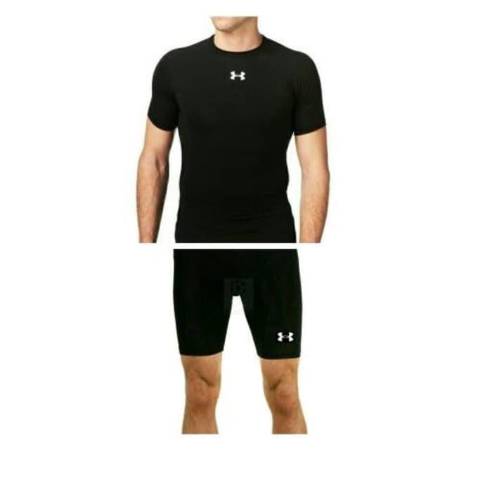Paket kaos baselayer + celana gym fitness manset training underarmour 8b8e1ff7ae