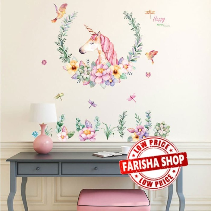 Foto Produk Unicorn & Flower  JM7329 - Stiker Dinding / Wall Sticker dari farisha shop