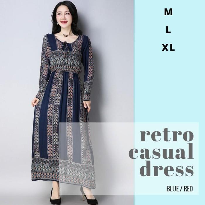 22644703553f Jual TF33258 Retro Casual Long Maxi Dress Panjang Hijab OOTD Baju ...