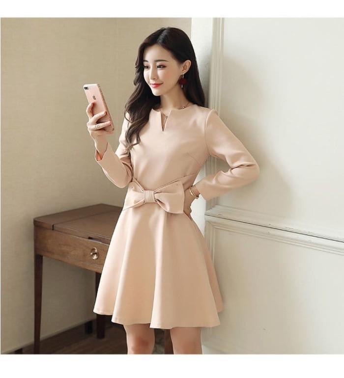 Jual Dsjt218051917432 Midi Dress Korea Dress Beige Elegan