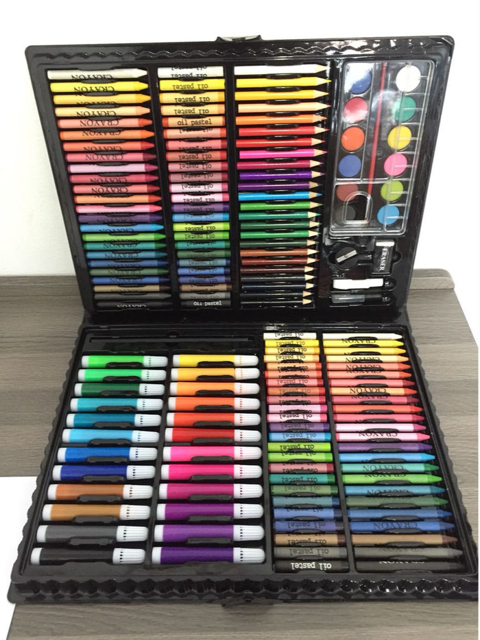 168 pcs - pensil warna, alat tulis set crayon, coloring set, colouring