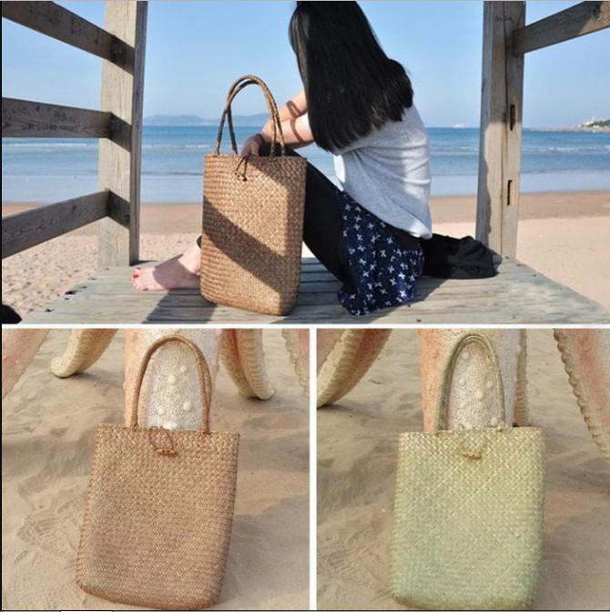 Tas Pantai 2018 Summer Big Straw Vintage Shopping Hand Bags wanita asl