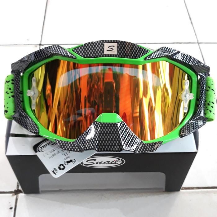 harga Kaca goggle cross snail black green viper. kaca cross kaca helm cross Tokopedia.com