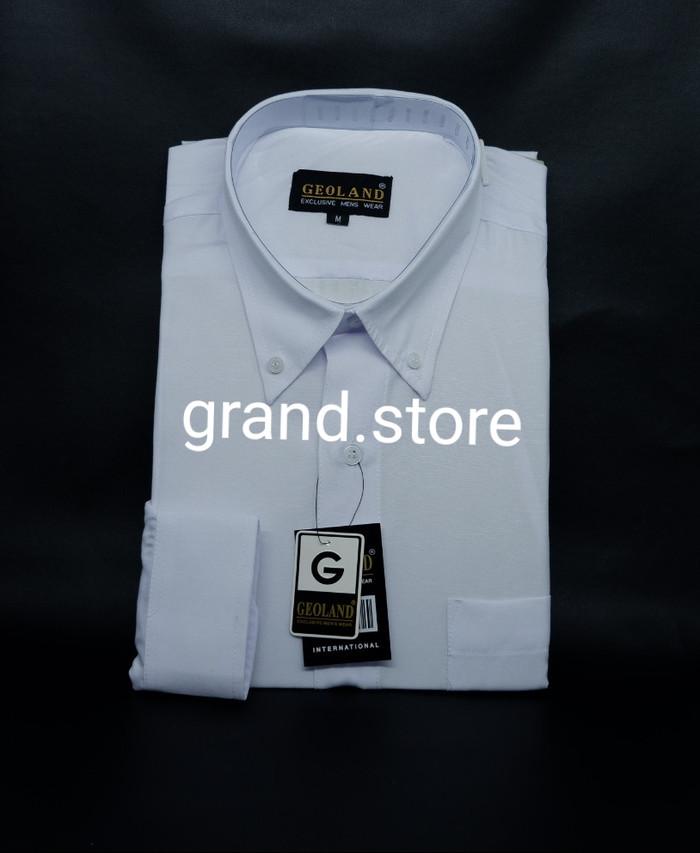 Foto Produk Kemeja Pria Geoland Putih Polos Lengan Panjang - Putih, XS dari Grand.store