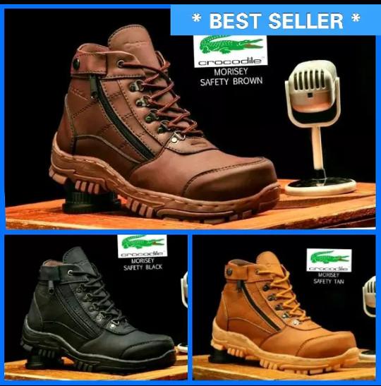 harga Promo sepatu safety boots crocodille delta morisey ada besi di ujung Tokopedia.com