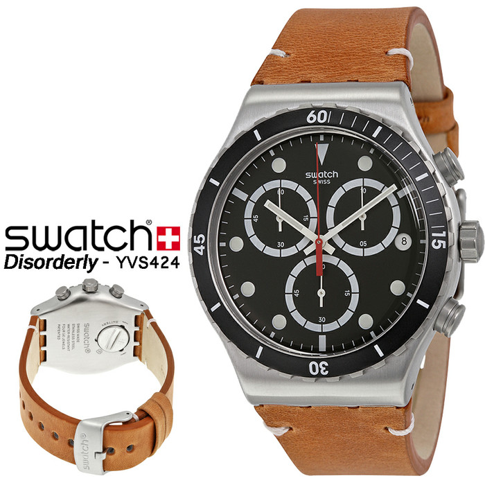 harga Swatch yvs424 original - jam swatch irony chrono tali kulit coklat Tokopedia.com