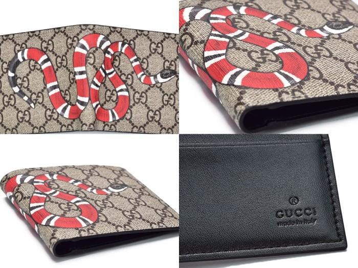 6ac289abea4 Dompet Cowok Pendek Gucci Bi-Fold Supreme GG Print Snake Ular Premium KULIT  ASLI - ORI LEATHER Branded Import