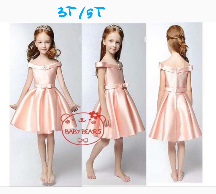 Jual Dress Satin Dress Pesta Anak Baby Bears Dress Unik Cantik