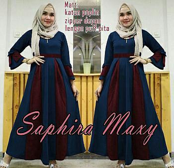 S SALE  Saphire maxy navy ~ baju muslim wanita ~ baju muslim perempuan
