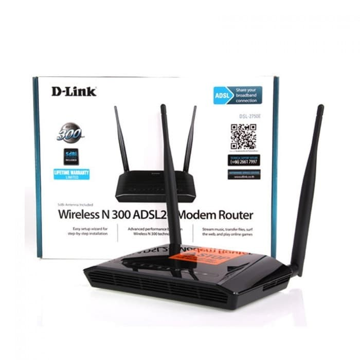 D-LINK Wireless N ADSL2+ 4-Port Wi-Fi Router [DSL-2750E] - Hitam