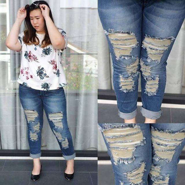 Jeans ripped hijab dark rita bigsize jumbo