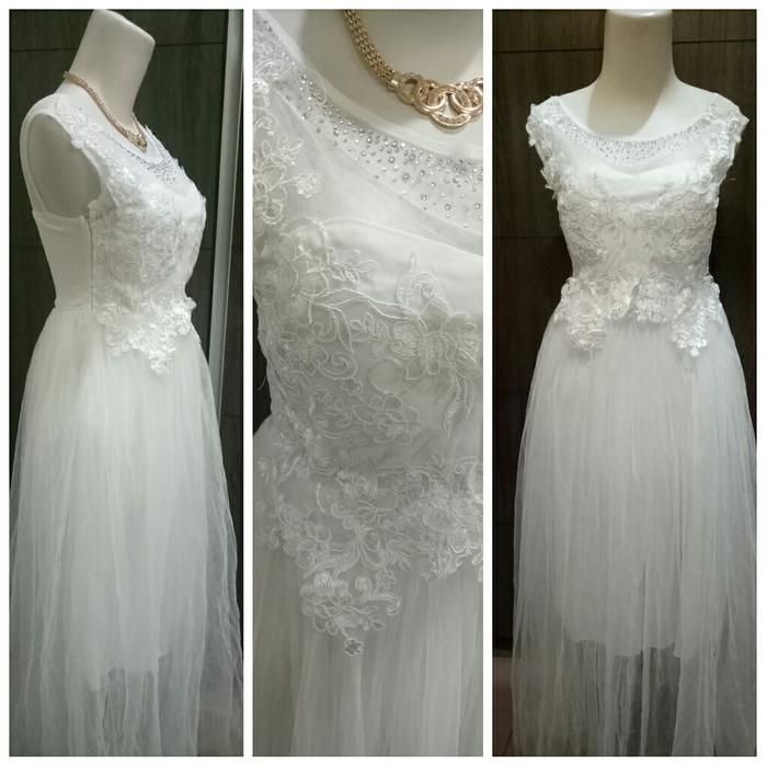 Jual Gaun Dress Pesta Putih Import Gabriella Boutique Tokopedia