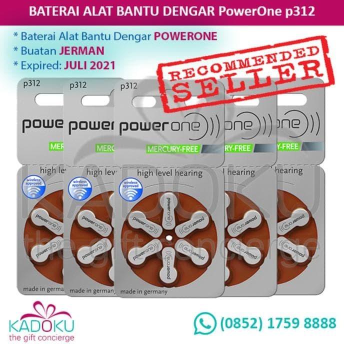 Baterai Alat Bantu Dengar Powerone 312 (Tipe Terbaru Mercury-Free)