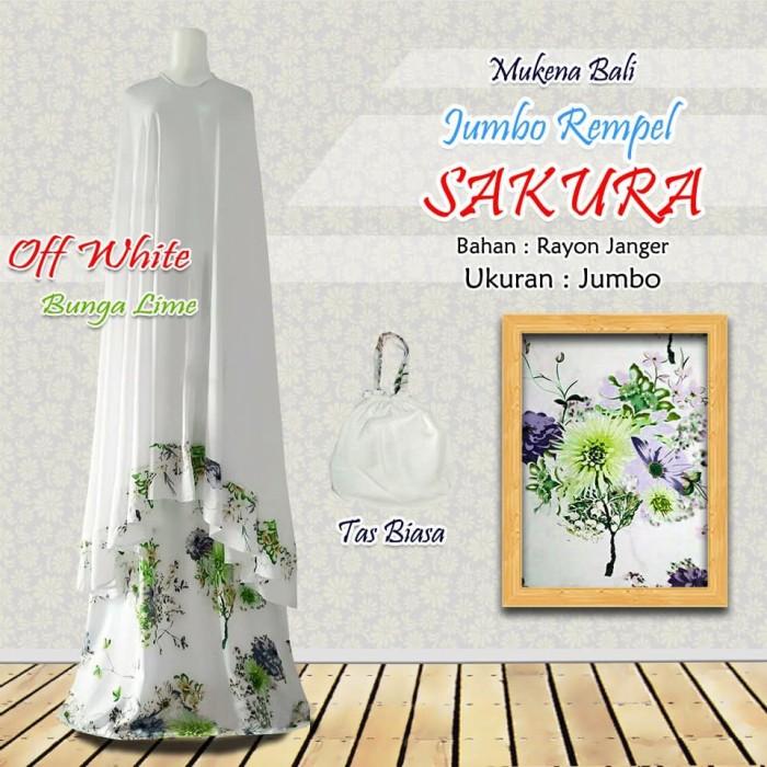 Mukena Bali Dewasa Sakura Jepang Premium Super Jumbo - Bunga Lime