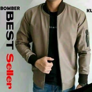 Jual Jaket Bomber pria cowok semi kulit polos distro Bandung PROMO ... a1db19dc45