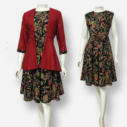 Jual Model Baju Dress Batik Terbaru Sa348 Berkualitas Awet Nyaman